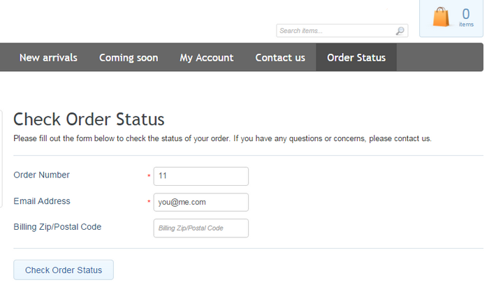 Order Status customer form